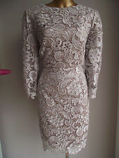 CUSTOMISED MONSOON DRESS MINK NUDE GOLD LACE PEARL SHIFT SUMMER WEDDING DRESS 16