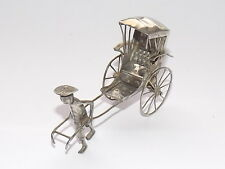 DELIGHTFUL RARE  ANTIQUE MINIATURE CHINESE EXPORT SOLID SILVER RICKSHAW c1900