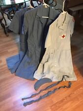 (3) 1950's Vintage American Red Cross Volunteer Uniforms, Hat & Belts