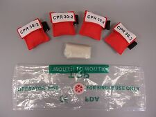 50  Red CPR Mask Keychain Face Shield with GLOVES imprinted CPR 30:2