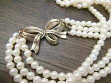 Vintage Victorian Style Cream Ivory Bead Layered Multi-Strand Bow Necklace RR8