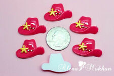 10 pcs Pink Cowgirl Hat Resin Cabochon Bow Center Cupcake Topper Party Decor
