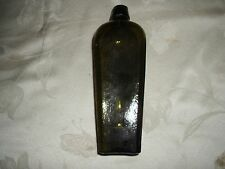 """ANTIQUE GREEN RIBBED BLOB TOPPED GIN BOTTLE 9.5"""" TALL #3"""