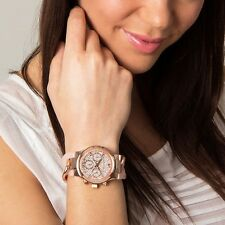 Michael Kors MK4283 Runway Pave Crystal Dial Rose Gold Blush Acetate Twist Watch