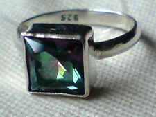 STERLING SILVER & MYSTIC TOPAZ RING with an 8mm.SQUARE STONE UKsize M £16.95 NWT