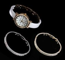 Anne Klein Womens White Ceramic Silver Crystal Bracelet Gold Watch 12/2248WTST