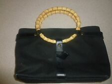 Lauren Ralph Lauren Black Canvas Leather Bamboo Handle Tote Bag Handbag Purse