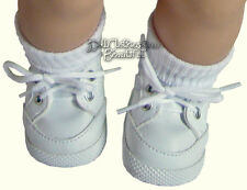"White Gym Shoes Top Quality for 15"" American Girl Bitty Baby + Twins Clothes"