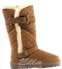 ELLA WIDE BUDDY WOMENS QUILTED BIKER FUR LINED WINTER SNOW BOOT CHESTNUT UK 5