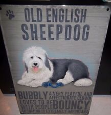 "OLD ENGLISH  SHEEPDOG 12""X 8"" METAL SIGN  WITH CHARACTER DESCRIPTIONS 30X20cm"