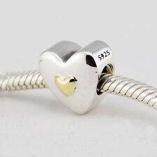 HAPPY ANNIVERSARY HEART w 14K Gold .925 Sterling Silver European Charm Bead