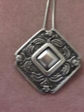 HM STERLING MODERNIST FLOWER LEAF PIN/ PENDANT W/ MONO SPACE &  CHAIN NECKLACE