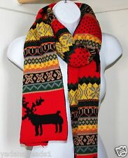 Winter Fashion Deer Print with color block Boa Scarf Yellow with red