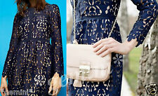 ZARA SIZE M BLUE EMBROIDERED LACE GUIPURE DRESS KLEID SPITZE STICKEREI 9775/041