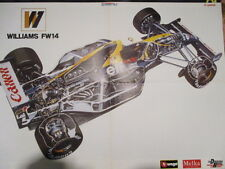 POSTER 4 PAGES AUTO : WILLIAMS FORMULE 1 : WILLIAMS FW14 ECLATE + SENNA-MANSELL-