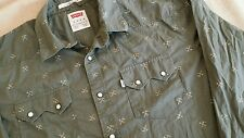 LEVI'S Western Gold Rush 49er Print Pick Axe Snap Button Men XL Shirt Green lvc
