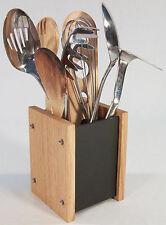 Oak Slate Design Kitchen Utensil Holder - Modern Contemporary Style