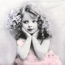 4x Carta Singola Tavola Festa Tovaglioli per Decoupage Decopatch VINTAGE Girl in Rosa