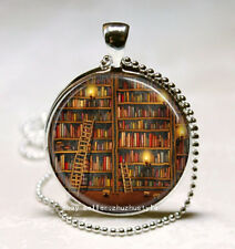 Vintage Books Cabochon Glass Necklace Pendant with Ball Chain Necklace H311