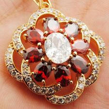 Wholesale 24K Gold Filled Red Cubic Zircon Charms Ladies Pendant Chain 45+5CM