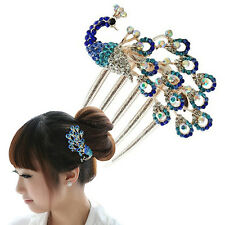 Women Vivid Vintage Peacock Rhinestone Hair Clip Hair Comb Beauty Tool Jewelry