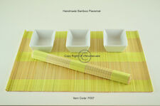 6 Bamboo Placemats Handmade Table Mats, Yellow - Cream (Light Brown), P007