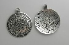 2 SILVER PLATED ROUND PENDANT FINDINGS 46MM