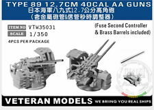 Veteran Models 1/350 IJN Type 89 12.7cm AA Guns with Fuse Second Controller 4pcs
