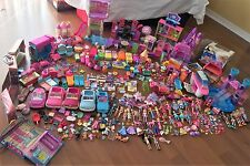 HUGE Polly Pocket LOT Vehicles Playsets Dolls Cases Bluebird Spinmaster +