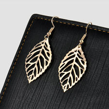 New Jewelry Womens Elegant Silver Gold Ear Hook Hollow Leaf Dangle Earrings Gift