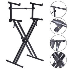 Pro Adjustable 2-Tier X Style Dual Keyboard Stand Electronic Piano Double N