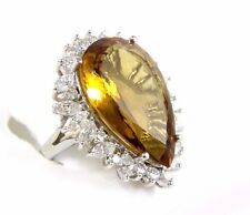 Fine Huge Sunset Orange Pear Citrine Ring w/Diamond Halo 14k White Gold 24.98Ct