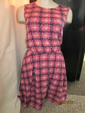 BNWT River Island Dress Size 8 Pink HoundsTooth Pattern Black Skater Style