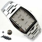 Women Mens square Stainless Steel Analog quartz Wristwatch Silver Watches + gift