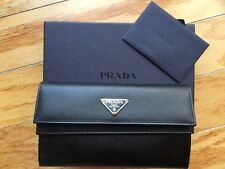 BLACK PRADA SAFFIANO GOLD HARDWARE BLACK LEATHER WALLET NEW IN BOX