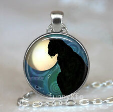Vintage Cat in moon Cabochon Silver plated Glass Chain Pendant Necklace f1