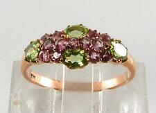 CLASSIC COMBO 9CT 9K ROSE GOLD PINK TOURMALINE PERIDOT RING