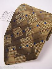 XMI Platinum Mens 100% Imported silk TIe. In an Bronze olive geometric pattern