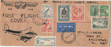 First Flight cover 1938 Australia to Papua New Guinea registered boomerang cover