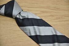 Silver Navy Blue Stripe Silk Backed Organzine Shantung Silk Men's Neck Tie USA