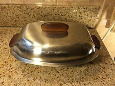 """Vtg Stainless Steel and Teak Mid Century Covered Serving Dish 11"""" Long"""