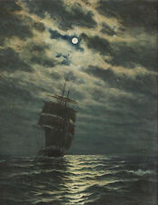 """perfact oil painting handpainted on canvas """"Ship in the moonlight  """"@N4797"""