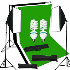 New Studio Photo Soft Box Light Backdrop Stand Kit Black White Green Background