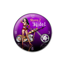 CHOPPER PIN UP Wanduhr groß V2 Uhr Clock Werkstatt Harley Indian Bike Motorcycle