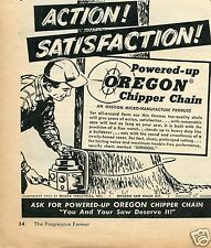 1959 Omark Industries Powered-Up Oregon Chipper Chain Saw Print Ad