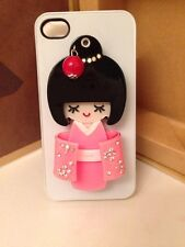 NEW NIB 3D Japanese/ Geisha Girl MIRROR IPHONE 4/4S Hard PHONE CASE- PINK