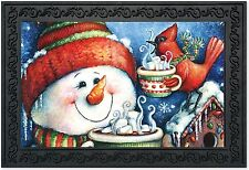 "Warm Wishes Snowman Doormat Christmas Cardinal Indoor Outdoor 18"" x 30"""