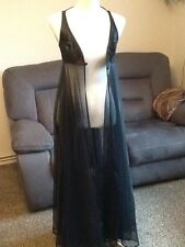"83"" long black Nylon vintage nightie / dressing gowned ..32"" bust approx"