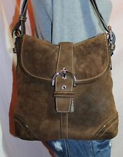 COACH Brown Suede Medium Shoulder Hobo Tote Slouch Cross Body Purse Bag