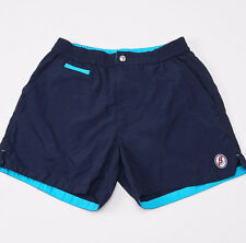 NWT $525 BRIONI Navy Blue-Turquoise Swim Trunks with Logo M (30-32 W) Shorts